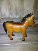 Carved Wooden Horse Statue Figure Vintage Art Figurine Sculpture with name