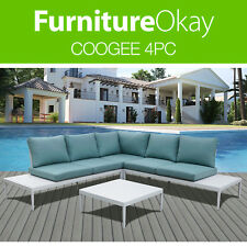 Coogee 4pc Outdoor Garden Lounge Patio Sofa Couch Aluminium Furniture Setting