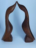 """Pair of Vintage Hand Carved Teak Wood Geese Figurines 5.75"""""""