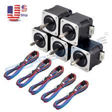 1 5x Nema 17 Stepper Motor 45ncm64ozin 15a 39mm 4 Wire With 1m Pin Connector