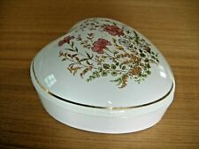 Heart shaped trinket pot dish with lift off lid floral design