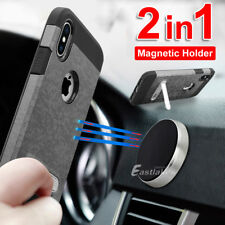 iPhone X 8 7 Magnetic Shockproof Case Cover with Kickstand Car Holder For Apple
