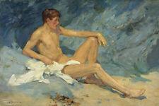 Male Nude Reclining on Rocks, Henry Scott Tuke fine ART CANVAS print