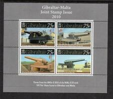 GIBRALTAR MNH 2010 GUNS JOINT ISSUE WITH MALTA MINISHEET