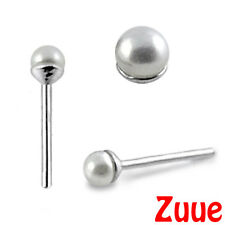 STERLING SILVER MINI TINY FAUX PEARL NOSE STUD WIRE NW29