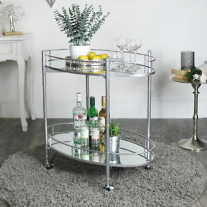 Silver Mirrored Oval Drinks Trolley glamorous shelving shelf bar cart modern