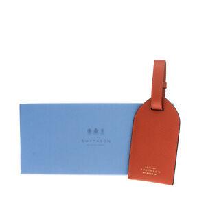 RRP €190 SMYTHSON OF BOND STREET Saffiano Leather Luggage Tag Adjustable Strap