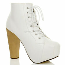 Scarpe da donna blocchetti stivali alla caviglia bianco
