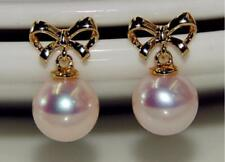 HUGE 10-11mm natural south sea genuine round white pearl earring