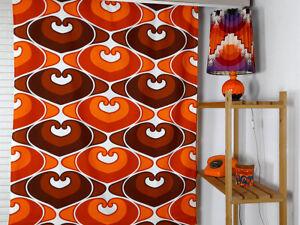 Vintage fabric curtains drapes orange brown Pop Art Mid-Century 70's VGC