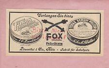 KÖLN, Werbung 1925, Löwenthal & Cie. FOX Fabrik Schuhputz