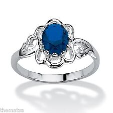 STERLING SILVER OVAL CUT SCROLLWORK SAPPHIRE SEPTEMBER STONE RING 5 6 7 8 9 10
