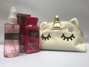 Bath and Body Works A Thousand Wishes Cosmetic Bag Gift Set Mini  NEW