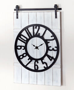 Distressed Farmhouse Wall Clock Barn Door Style Wood Metal Country Home Decor