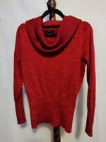 Apt. 9 womens sz M pullover cowl neck sweater red metallic LS ribbed bottom NWOT