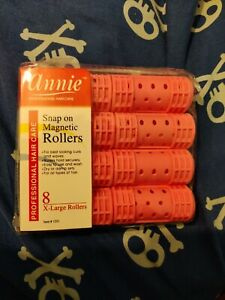 """3 X ANNIE SNAP ON MAGNETIC ROLLERS #1221, 8 COUNT PINK X-LARGE 1-1/8"""""""