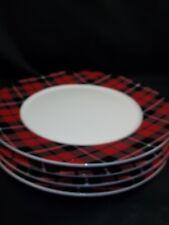 Pottery Barn Denver Plaid Rim Dinner Christmas Holiday Plates Set of 8 #20