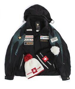 Mens Descente Swiss Team Ski Jacket Winter Black Audi Hooded Size 50 / L