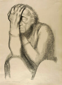 KÄTHE KOLLWITZ - NACHDENKENDE FRAU - Kreidelithografie 1920