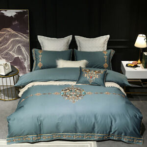 Embroidered Baroque Duvet Cover Bedding Set Egyptian Cotton Flat Bed Sheet Blue