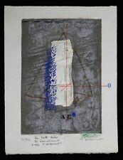 Lithographie en relief composition signée dédicacée Pour Josette Mélèze 1987