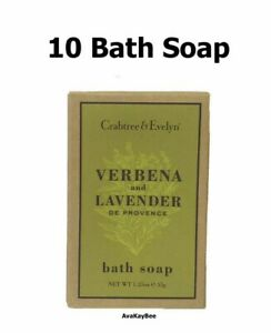 CRABTREE and Evelyn 10 Verbena and Lavender BATH Soap Bar 1.25 oz ea (Lot of 10)