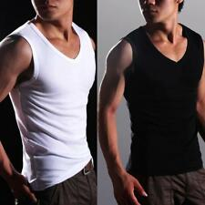 Summer Men Cotton Sleeveless V-neck T Shirt Muscle Vest Tank Tops Stretch Gym