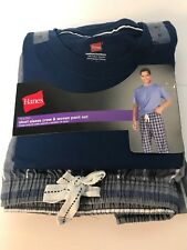 HANES TAGLESS SLEEPWEAR SHORT SLEEVE CREW AND KNIT PANT SET SIZE M BLUE-GRAY  4a