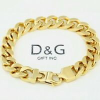 "DG Men's 8.5"" Gold Stainless-Steel 11mm Cuban-Curb Chain Bracelet,Unisex**Box"