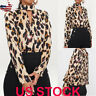 US Women's Leopard Print V-neck Sexy Button Shirt Ladies Long Sleeve Blouse Tops