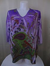 Susan Lawrence Plus Size 3/4 Sleeve Floral Print Top & Purple Green 2X #817