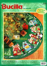 "Bucilla Christmas Village ~ 43"" Felt Tree Skirt Kit #83980 Store Church Children"