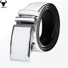Luxury White Real Leather Mens Belts Automatic Buckles Dress Jeans Waist Straps