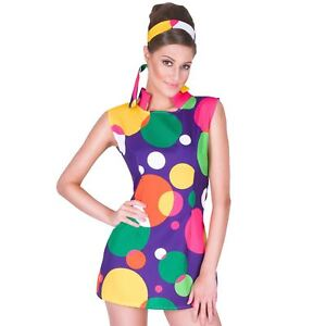 Ladies Hippie Girl Costume 60s 70s Hippy Mod Fancy Dress Womens Outfit