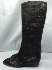LOEFFLER RANDALL MATILDE $695 Tall Knee High Low Wedge Boots Pebbled Brown NEW 7