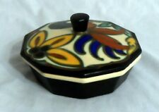 Vtg Art Deco Belgian Pottery - Puff Box Powder Box Candy Dish ? Made in Belgium