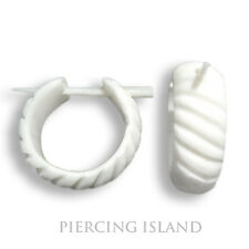 Ohrringe Weiß Natur Kreolen Creolen Knochen Design Schmuck ER083