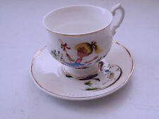 SHERIDEN CHINA CUP AND SAUCER NURSERY RHYME YOUNG GIRL FIGURES FOR PATTERN