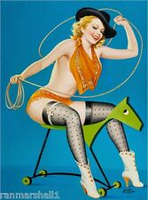 1940s Pin-Up Girl Roping the Horse Picture Poster Print Art Pin Up