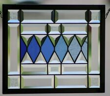 •Inspirationel Blues•   Beveled Stained Glass Window Panel,