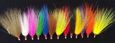 6 Dressed Bucktail Teaser Flies Ultra Point Hooks Sea Bass Fluke Cod Plugs Rigs