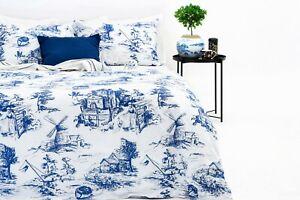 Marsala Home ® Duvet Cover Set 100% Cotton Blue Toile De Jouy Bedding