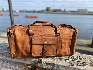 Bag Leather Duffle Men Travel Genuine Gym Luggage Overnight Vintage Weekend Bag