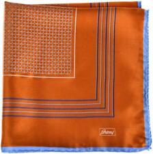 Brioni Pocket Square Handmade Silk Satin Orange Blue Geometric 03PS0114 $110