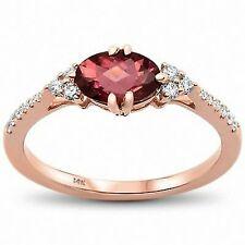 14k Rose Gold Oval Pink Topaz Diamond Ring