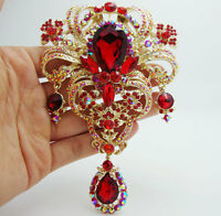 """5.04""""Classic style Flower drop Brooch Pin Pendant Red Rhinestone Crystal"""