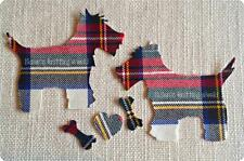 T4 - Multi-Tartan - Fabric - Cut Out - Iron - Sew On - Applique - Scottie - Dogs