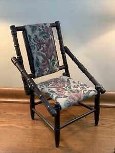 Rare Antique Victorian Childs Chair w/ Floral Fabric Seats Painted (?) In VGC