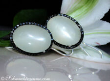 Ohrschmuck mit Mondstein echten Edelsteinen aus Weißgold für Damen