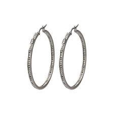 Ladie's Stainless Steel High Polish Channel Set White CZ Stone Hoop Earrings